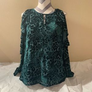 NWOT Nanette Lepore Size L Velvet Green Cut Out